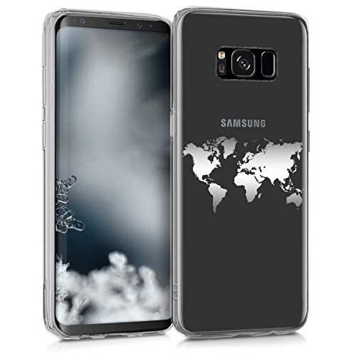 kwmobile Samsung Galaxy S8 Hülle - Handyhülle für Samsung Galaxy S8 - Handy Case in Travel Umriss Design Silber Transparent