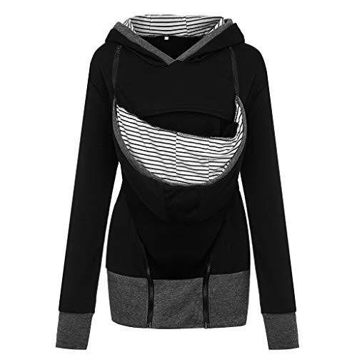 Jushye 2019 New Women Maternity Striped Baby Pouch Carrier Hoodie Kangaroo Pocket Zipper Pregnancy Coat Sweatshirt (XL, Black)