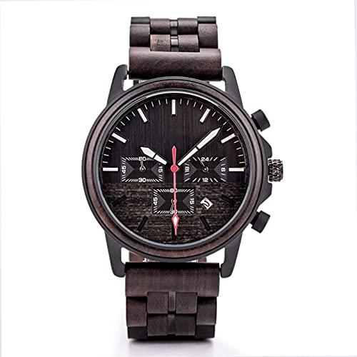 Reloj deportivo para hombres Cuarzo Movimiento japonés Movimiento luminoso Calendario de madera Acero de madera Ebony Dial A debe tener para personas exitosas Combinación de tecnología y naturaleza Me