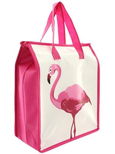 MIK funshopping Flamingo - Nevera portátil (32 x 27 x 13 cm), color blanco y rosa