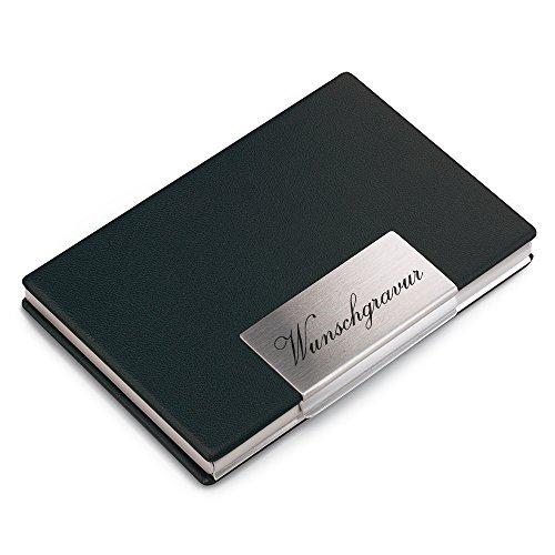 polar-effekt Étui pour cartes de visite avec gravure – Étui pour cartes de visite en acier inoxydable – Porte-cartes personnalisé en cuir PU noir et fermeture magnétique – Idée cadeau d'anniversaire