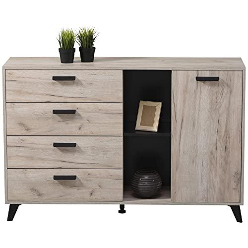 TUCO - Aparador salón comedor, cómoda dormitorio, 4 cajones y 1 puerta en color gris roble y negro. Medidas: 137,5 cm (Ancho) x 90,5 cm (Alto) x 40 cm (Fondo)