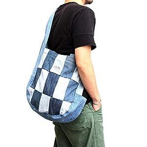 リメイク デニム パッチワーク トートバッグ ショルダーバッグ アメカジ バッグ 鞄 (07-ahb013)