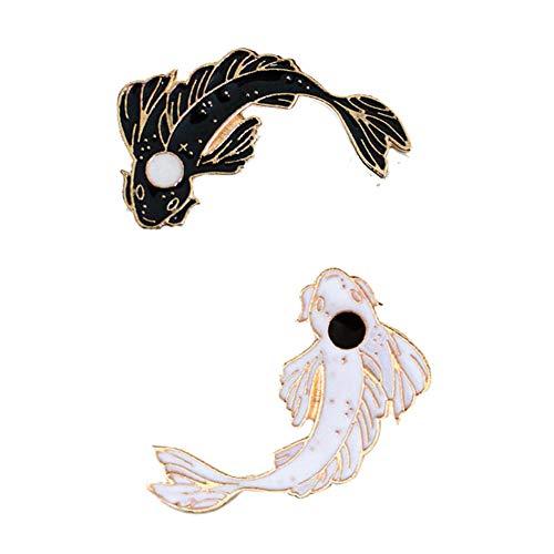 Aisoway 2Pcs / Set Fisch-Revers-Stifte Cartoon Koi Emaille Brosche Tai Chi Abzeichen Schwarz-weiße Farbe
