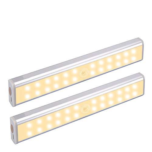 Bajo iluminación del gabinete, 24 LED de luz recargable USB, con sensor de movimiento inteligente, interruptor automático inteligente, banda magnética para armario, armario, cocina (2Pack)