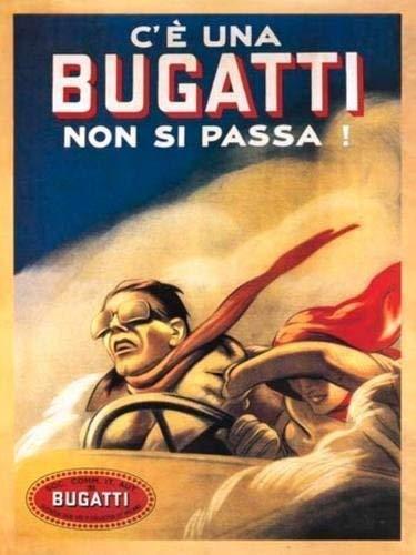 RKO Italien Bugatti Publicité Classique, Voiture Sport Course, Parent - 9 x 6.5 cm (Magnet)