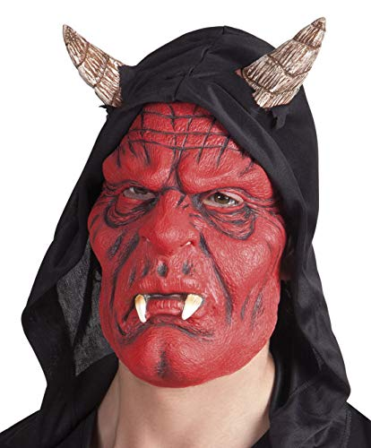 Karnevalsbud - Kostüm Accessoires Zubehör Latex Teufel Maske mit Reißzähnen Ziegenbock-Hörnern Kapuze, Mask Devil with Fangs and Horns Hood, perfekt für Halloween Karneval und Fasching, Rot
