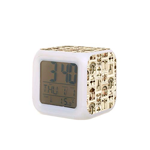 Vintage seta botánica básica mochila led digital despertador calendario temperatura colorido noche luz dormitorio reloj escritorio reloj batería