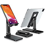 eSamcore Cell Phone Stand for Desk, [Updated] Extended Foldable iPhone Holder Adjustable iPad Stand Dock Compatible with 4'-12.9' Mobile Phone/Tablet/Kindle/Samsung Galaxy Smartphones