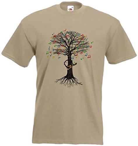 T-Shirt mit Druck, Ukulele spielender Baum, braun, UkuleletreeT