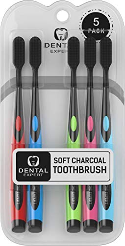 Charcoal Toothbrush [Gentle Soft] Slim Teeth Head Whitening Brush for Adults & Children [Family Pack] - Ultra Soft Medium Tip Bristles (Mix Color)