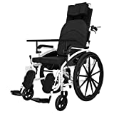 lqgpsx Selbstfahrender Rollstuhl, multifunktionaler Pflegerollstuhl, Faltbarer tragbarer Rollstuhl, tragbarer Doppelbremsen-Rollstuhl, Trolley-Roller für ältere Menschen, Toilettenstuhl