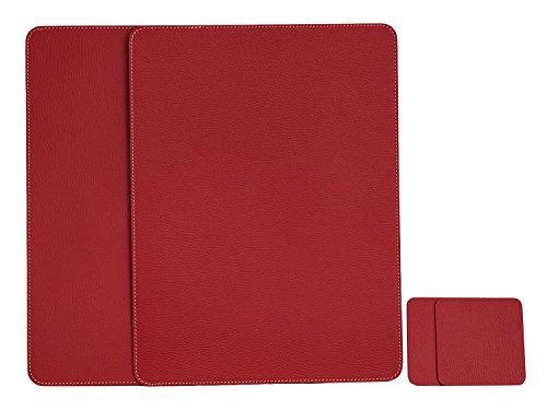 Nikalaz Lot de 2 Set de Table et 2 Desous de Verres, Set de Table 40 x 30 cm et sous-bock 10 x 10 cm, Cuir Naturel Recyclé (Rouge)