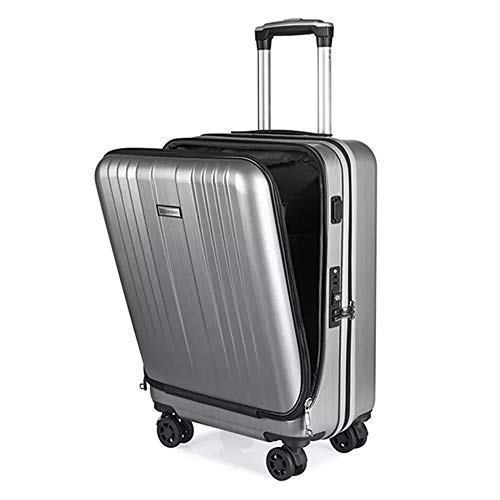 ADDG Travel Suitcase,New Cabin Rolling Luggage with Laptop bag, Trolley suitcase with Charging USB,Silver