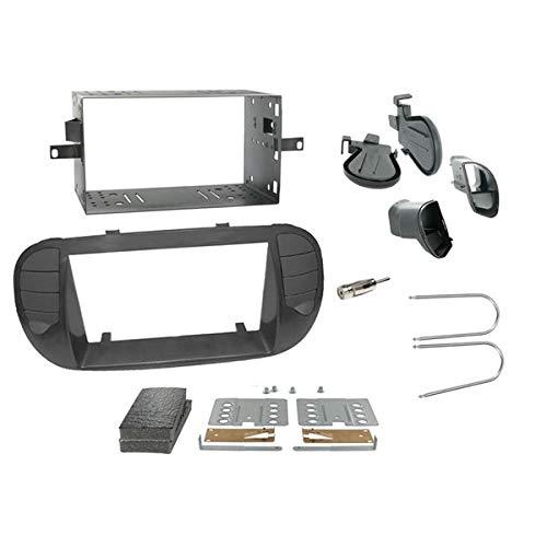 Sound-Way - Kit de Montaje Marco para Radio Adaptador autoradio para FIAT 500 Negro Mate 2 DIN - 2D-500-NO