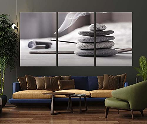 QUANQUAN Stampe e Quadri su Tela - 3 Pezzo Pietre Zen Murale Tela Wall Art con Cornice per Moderna Home Decor Regalo di Anniversario Natale 150X70Cm- XXL Immagini Murale