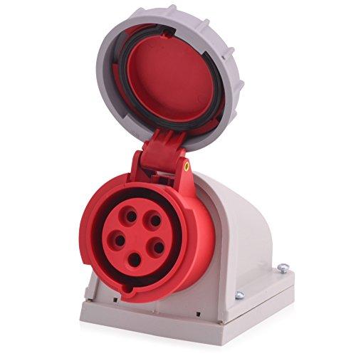 CEE Starkstrom Wandsteckdose Intratec 32A 400V 6h IP67 5-polig (3P+N+E): IEC-60309 Industrie und Mehrphasenstecker robuste Industriequalität