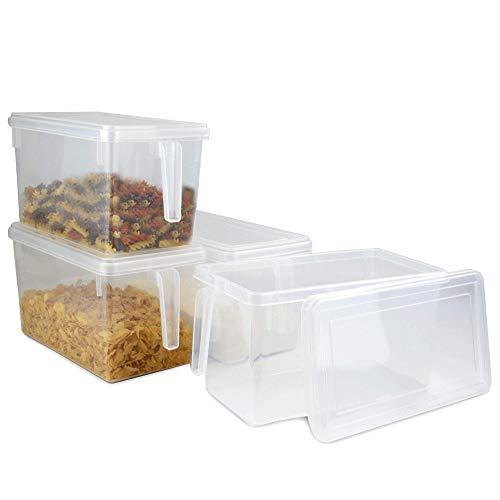 Contenitori per alimenti in plastica - Set di 4 | Frigorifero da cucina e congelatore | Capacità 5 L, coperchi e manici collegati | Pukkr