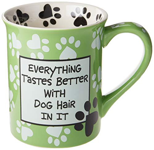 "Enesco 4026113 Our Name is Mud ""Dog Hair, 16 oz. Stoneware Mug, 16 Ounces, Green"