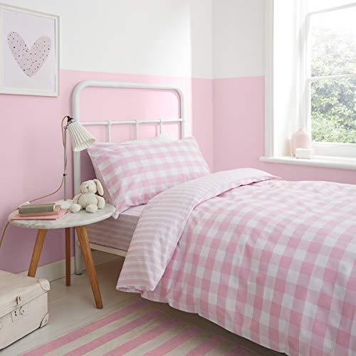 Bianca - Set copripiumino matrimoniale con stampa a quadretti e righe, colore: Rosa