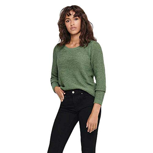 Only ONLGEENA XO L/S Pullover KNT Noos Suter Pulver, Color Verde, M...