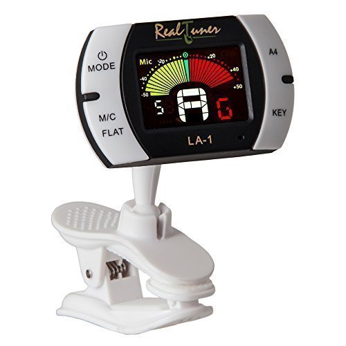 Guitar Tuner - Chromatic Clip-on Tuner for Guitar, Bass, Violin, Ukulele, Banjo, Brass and Woodwind Instruments - Bright Full Color Display - Extra Mic Function - A4 Pitch Calibration