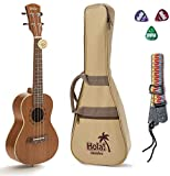 Concert Ukulele Bundle, Deluxe Series by Hola! Music (Model HM-124MG+), Bundle Includes: 24 Inch Mahogany Ukulele with Aquila Nylgut Strings Installed, Padded Gig Bag, Strap and Picks