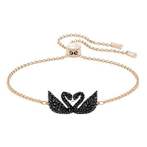 Swarovski Iconic Swan Armband für Frauen, schwarzes Kristall, rotgold glänzendes Finish