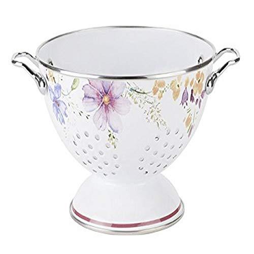 Villeroy & Boch - Mariefleur Kitchen Sieb, Küchensieb mit verspieltem Blumendruck in Landhausoptik, emaillierter Stahl, Handwäsche