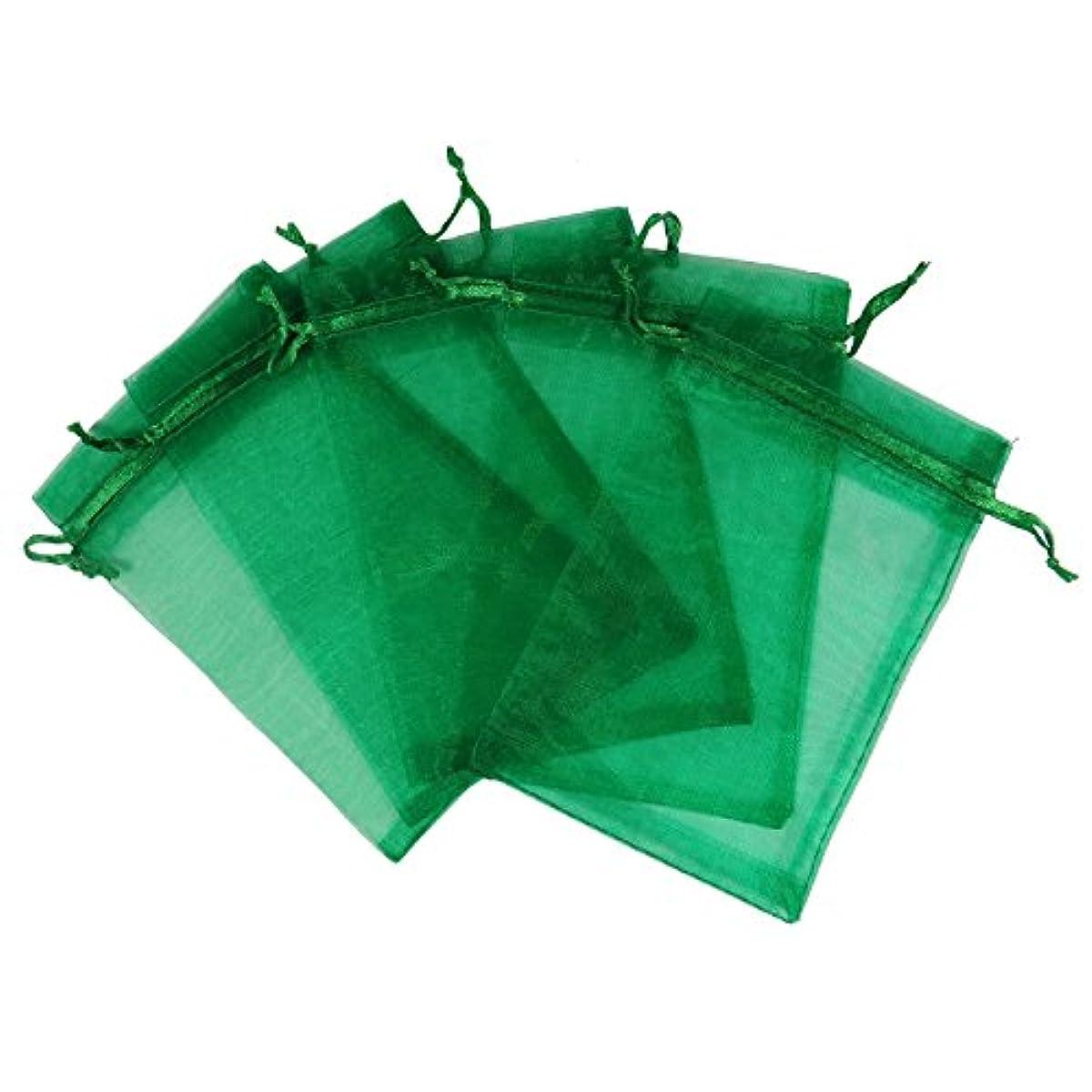 RakrisaSupplies 100Pcs Deep Green Organza Bags 3x4