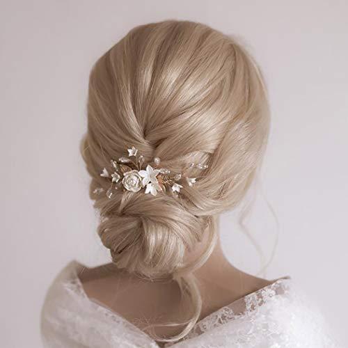 Edary Brautschmuck Hochzeit Blumen Haarkämme Silber Kristall Braut Kopfschmuck Perle Haarclips Blatt Haarschmuck für Frauen und Mädchen