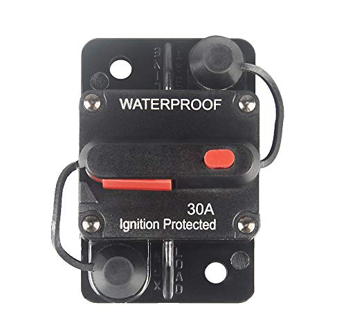WOHHOM 30 Amp Circuit Breaker with Manual Reset 12V-36V DC Waterproof Surface Mount for Car Audio Rv Marine Boat Truck Trolling Motors, 30-300A Car Speaker Resettable Fuse