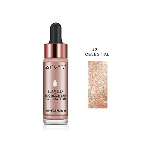 Iluminador líquido, maquillaje facial en crema, brillo, base y corrector, ultraconcentrado, bronceador, #02