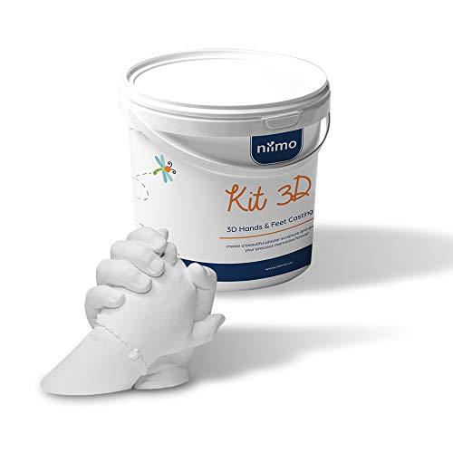 Niimo Gipsabdruck Set Hand und fuß 3D Handabdruck Set Kind Erwachsene Paar 2 hände 3D fussabdruck Set komplett mit Alginat Abformmasse Gipspulver Behälter Bambusstock Anweisungen auf Deutsch