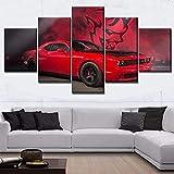 TTTRR Impresión En Lienzo Paisaje de super coche 5 Piezas Cuadro sobre Lienzo, Modernos Grandes Arte Decoracion Salon Dormitorios Mural Pared Listo para Colgar 150*80 Cm
