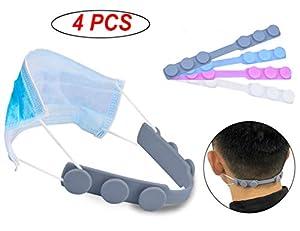 4 ganci per maschere e orecchie, regolabili e confortevoli elastici per maschera antiscivolo, 4 colori in silicone per adulti e bambini