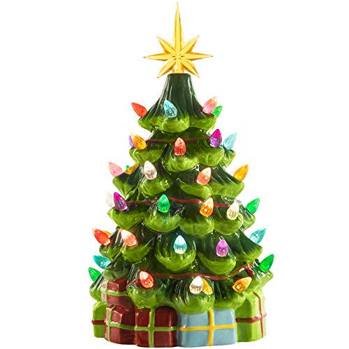12 Inch Medium Ceramic Christmas Tree Battery Operated Tabletop Artificial Green Christmas Decoration Tree with Multicolored Lights & Decorated with Gift Boxes, Star Included, Battery Not Included