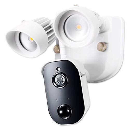 LUVISION Überwachungssystem Akku-Überwachungskamera & Touchscreen-Basis Full HD Funk kabellos Indoor/Outdoor Bewegungsmelder Gegensprechanlage Nachtsicht App (Flutlicht-Kamera mit Netzteil)
