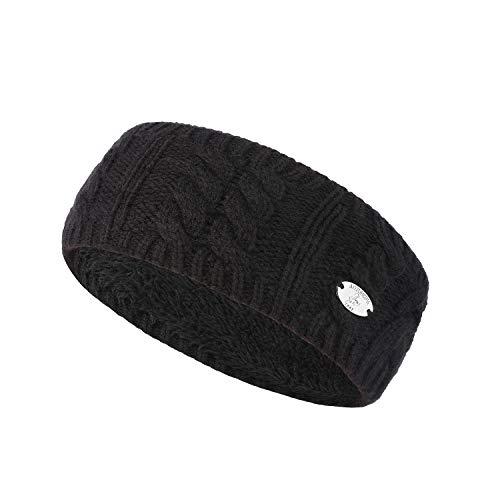 AnJuHoPa Strick Stirnband cabel Knit Kopfband Ohrenschutz Haarband mit langem Fleece Futter für kalte Wintertage