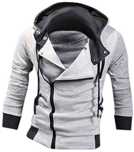 Jeansian Hombres Sudaderas con Capucha Outwear Tapas Men's Casual Hooded Sweatshirts Outwear Tops 8945 Lightgray L