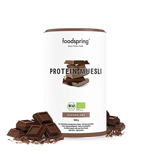 foodspring Muesli protéiné, au chocolat, 360g, ingrédients 100% bio, 29g de protéines par portion. Vegan et sans lactose.