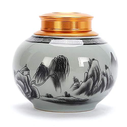 NINAINAI Carrito De Té De Cerámica Jarra de té de la Mitad Simple Moderna del Tarro de cerámica de cerámica de cerámica Tanque De Almacenamiento Universal (Color : Gray, Size : One Size)