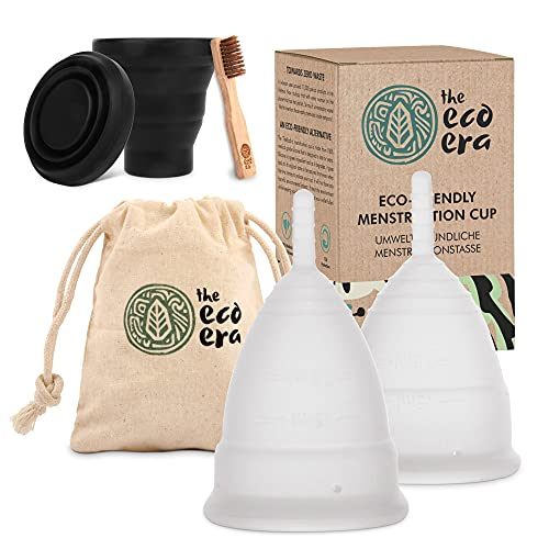 """The Eco Era Menstruationstassen-Set \""""Größe S+L\"""", mit Sterilisationstasse, Baumwolltasche und Bambusbürste - Alle Artikel sind farbstofffrei, geruchlos - 5 Tlg. Set"""