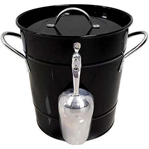 Dispensador de bebidas, enfriador de bebidas al aire libre, cubo de hielo de acero inoxidable, contenedor de soporte de hielo grueso para bar, fiesta, champán, barril de vino, 5 colores(Color:negro)