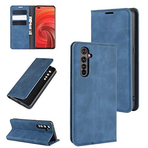 Fertuo Hülle für Realme X50 Pro, Handyhülle Leder Flip Hülle Tasche mit Kartenfach, Magnetverschluss, Silikon Innenschale Schutzhülle Cover Lederhülle für Oppo Realme X50 Pro 5G Smartphone, Blau