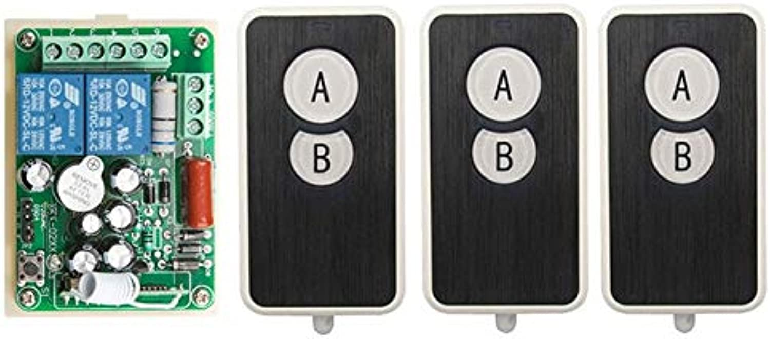 AC220V 2CH Wireless Remote Control Switch System 1Receiver + 3Ultra -Thin Acrylic Transmitters for Appliances Gate Garage Door