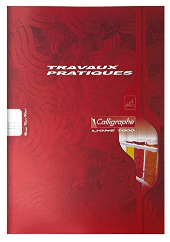 Calligraphe 7597C - Un cahier de travaux pratiques (gamme 7000 de Clairefontaine) 48 pages 21x29,7 cm grands carreaux 70g et pages unies 90g, couverture carte offset, couleur aléatoire
