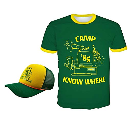 Dustin Stranger Things Camisa Camp Know Where 85 Camiseta Sombrero Manga Corta Verde 3D Cosplay Anime Tops de Túnica