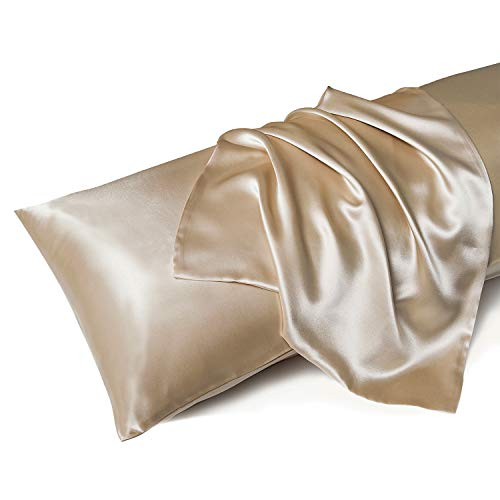MR&HM Satin Body Pillow Pillowcase, 20x54 inches Body Pillow Cover with Envelope Closure, Silky Slip Cooling Pillow Cases for Hair and Skin (20x54, Taupe)