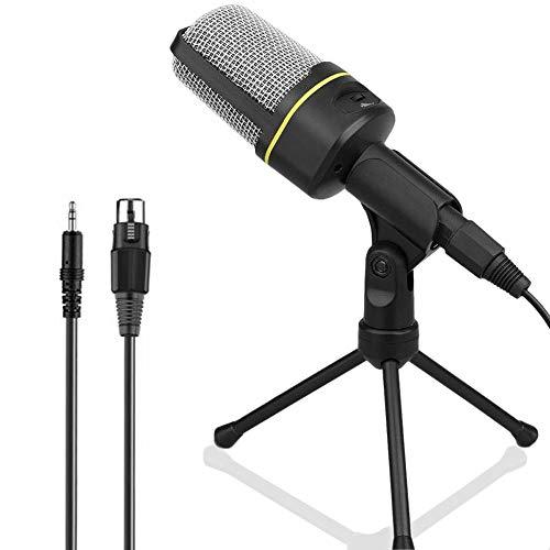 Anmete Microfono per PC con Treppiede Microfono Condensatore Jack 3.5mm con Supporto per Smartphone Gioco Plug and Play Mic da Tavolo per Loptop iPad Mac Gaming Youtube Skype Registrazione Vocale